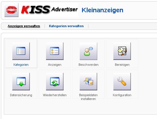 KISS Advertiser backend configuration panel