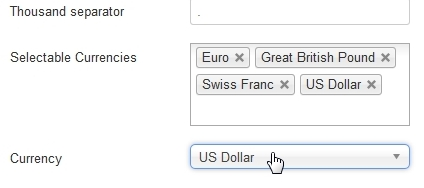 Selectable Currencies in KISS Advertiser Backend
